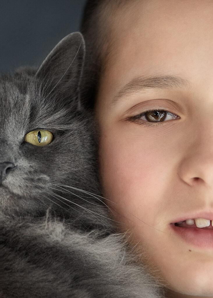 children with pet portrait, Family portrait studio photography Nottingham Derby East Midlands