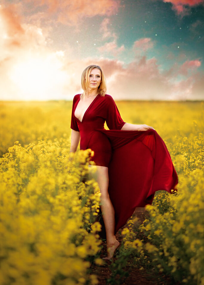 Fashion Woman Outdoor Photoshoot in rapeseed Field in Nottingham