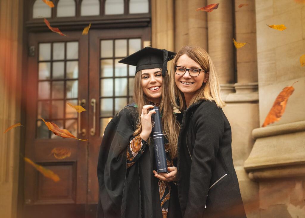portrait of best friends from graduation session at Nottingham University, Best Graduation present from a friend
